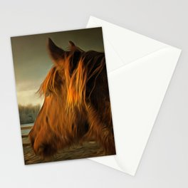 Horse Along a Fence in Snow in Winter. Golden Age Painting Style. Stationery Cards