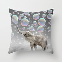 dreams Throw Pillows featuring The Simple Things Are the Most Extraordinary (Elephant-Size Dreams) by soaring anchor designs