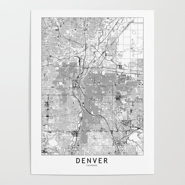 Denver White Map Poster