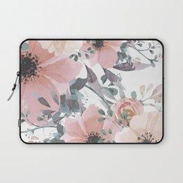 Peach Blush Watercolor Flowers Laptop Sleeve