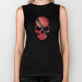 Dark Skull with Flag of Trinidad and Tobago Biker Tank