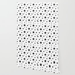 Stars pattern White and Black Wallpaper