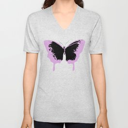 Black and pink butterflies Unisex V-Neck