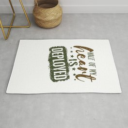 Military Wife Half Of My Heart Is Deployed Rug