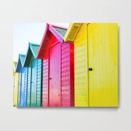 Colourful beach huts on the seaside Metal Print