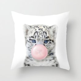 Baby Snow Leopard Blowing Bubble Gum, Pink Nursery, Baby Animals Art Print by Synplus Throw Pillow