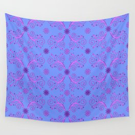 Flowers & Flourishes, blue & pink Wall Tapestry