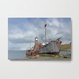 Whaling Ship with Gun Metal Print