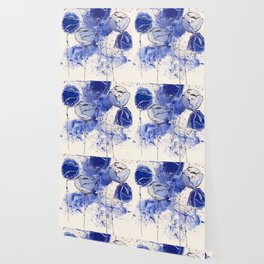 Blue and White Splotch Flowers Wallpaper