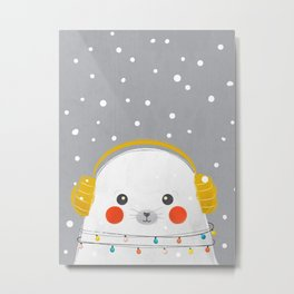 Christmas Baby Seal Metal Print