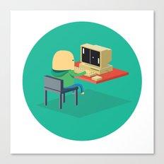 Nerd playing Pong Canvas Print