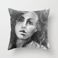 jessica lange Throw Pillows featuring Jessica by Judy Hung
