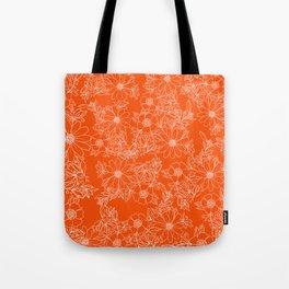 Hand drawn white bright orange modern floral Tote Bag