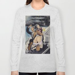 Vintage Nude hand colored female male spanking butt bum Long Sleeve T-shirt
