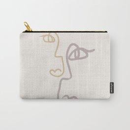 Double Line Faces Linen/Mauve Carry-All Pouch