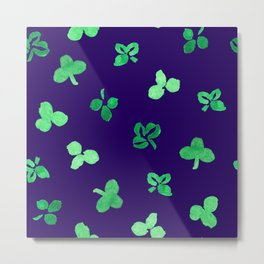Clover Leaves Pattern on Purple Metal Print