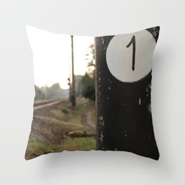 First of many milepost, start of the road Throw Pillow