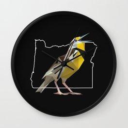 Oregon – Western Meadowlark (Black) Wall Clock