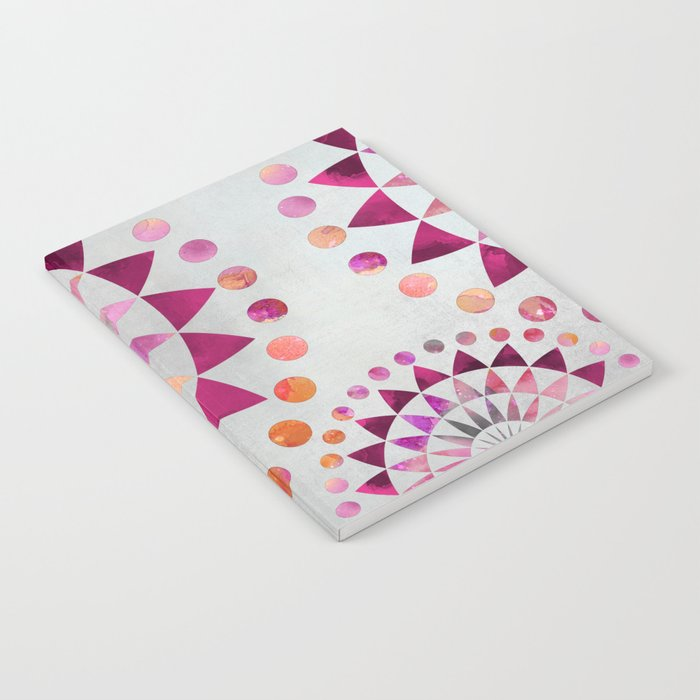 Mandala Pattern in warm shades of orange and pink Notebook
