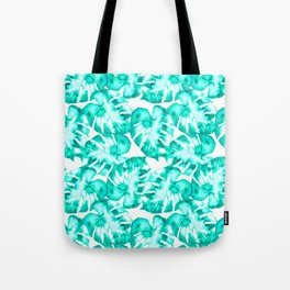Monstera Watercolor Toss in Teal Tote Bag
