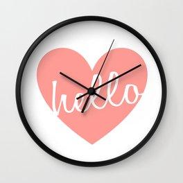 Hello Heart Wall Art #5 Pink Heart Wall Clock