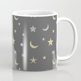 Gold and silver moon and star pattern on grey background Coffee Mug