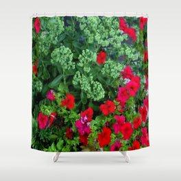 Red Petunia Flowers Green Sedum Flora Art Shower Curtain