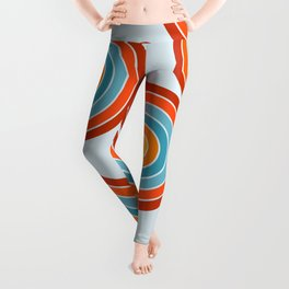 Retro Motion 2 – Orange / Yellow / Blue Abstract Stripe Pattern Leggings