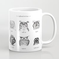 coffee Mugs featuring Caffeinated Owls by Dave Mottram