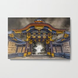 The Main Gate at Nijo Castle Abstract Metal Print