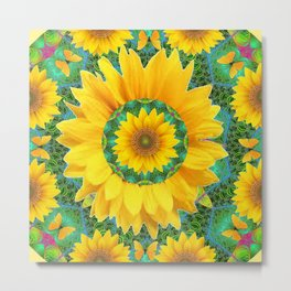 BOHEMIAN YELLOW FLORAL & BUTTERFLIES GREEN PATTERN ART Metal Print