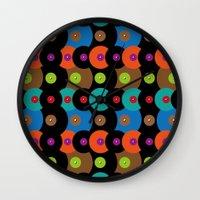 records Wall Clocks featuring Vinyl records by Helene Michau