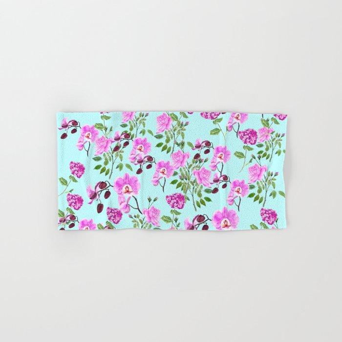 pink purple flowers watercolor painting Hand & Bath Towel