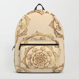 Golden Mandalas on Cream Backpack