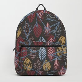 Autumn pink blue brown hand painted leaves Backpack
