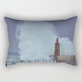 Stormy wave over old lighthouse and pier of Viavelez in Asturias, Spain. Rectangular Pillow