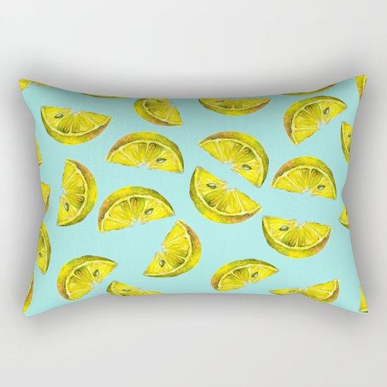 Lemon Slices Pattern Turquoise Rectangular Pillow