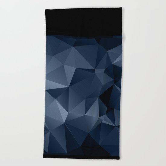 Black and blue polygonal pattern . Beach Towel