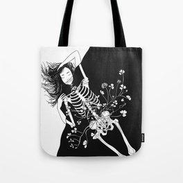 girl skeleton flower Tote Bag