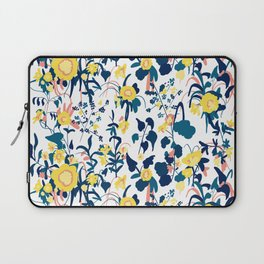 Buttercup yellow, salmon pink, and navy blue flowers on white background pattern Laptop Sleeve