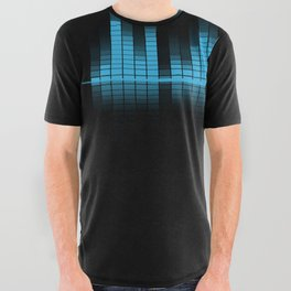 Cool Blue Graphic Equalizer Music on black All Over Graphic Tee