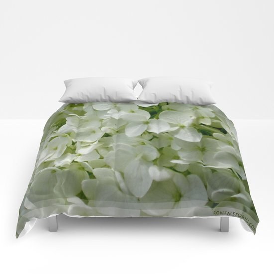 White Hydrangia Blossom Comforters