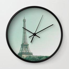 Paris - Eiffel Tower - Blue Sky - sunny days in Paris Wall Clock