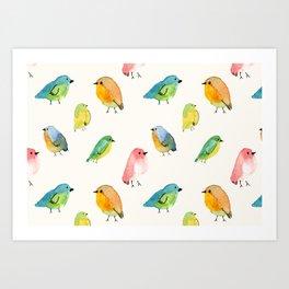 Watercolor Birds Pattern Art Print