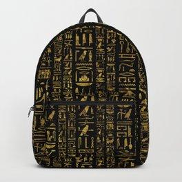 Egyptian hieroglyphs vintage gold on black Backpack