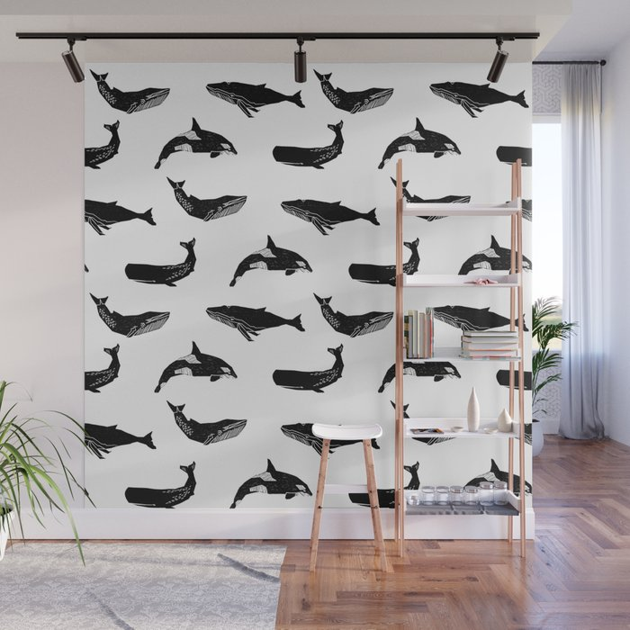 Whales orcas sperm whale species ocean pattern art linocut nature animals Wall Mural
