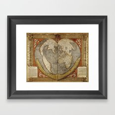 Heart-shaped projection map by Oronce Fine, 16th century Framed Art Print