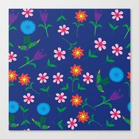 floral pattern Canvas Prints featuring Floral pattern  by luizavictoryaPatterns