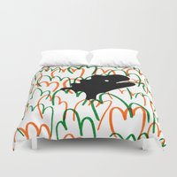 dinosaur Duvet Covers featuring Jungle Dinosaur by David Penela