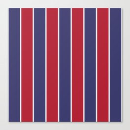 Large Red White and Blue USA Memorial Day Holiday Vertical Cabana Stripes Canvas Print